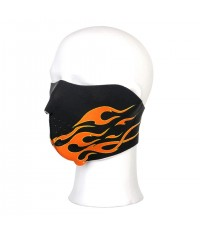 Demi masque motard Noir, décors Flammes oranges
