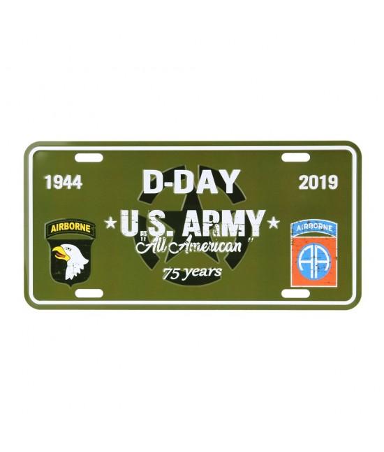 Plaque d'Immatriculation en métal DDAY US ARMY