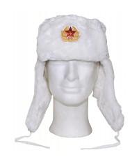 CHAPKA RUSSE AVEC INSIGNE - BLANC