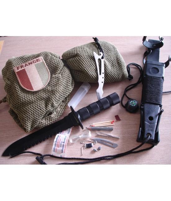 Poignard Optima Survival avec son Kit de survie