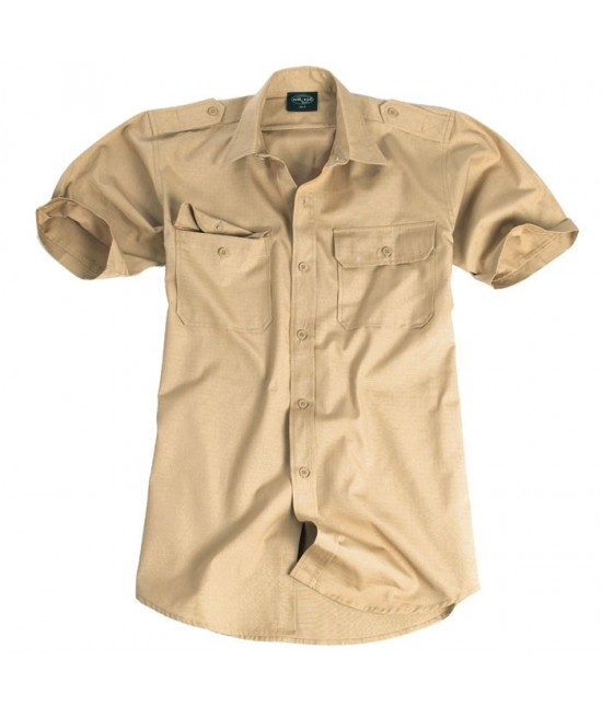 Chemise Tropicale Manches Courtes Beige