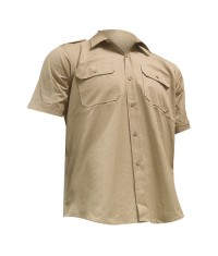 CHEMISE TROPICALE BEIGE RIPSTOP - Manches courtes