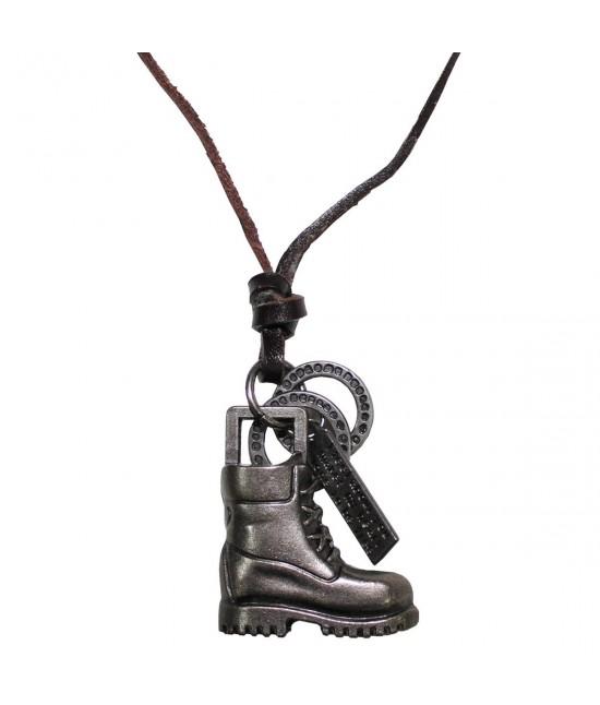 Collier Boots cuir+zinc