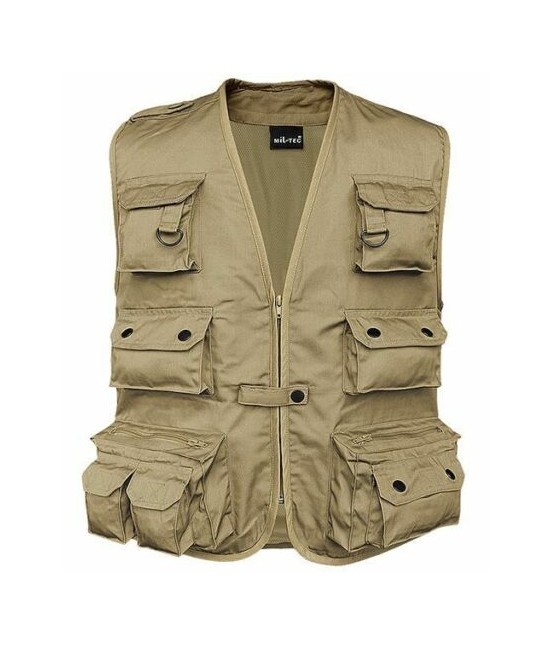 GILET MULTIPOCHES REPORTER ANTI-TRANSPIRANT - Beige