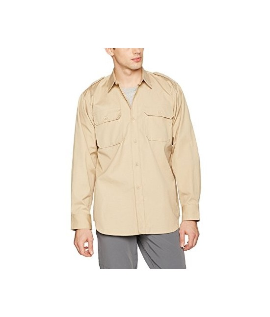 Chemise Tropicale Manches Longues Beige